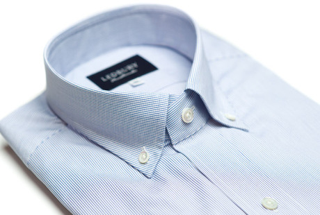 The Blue Micro-Check Slim Fit collar
