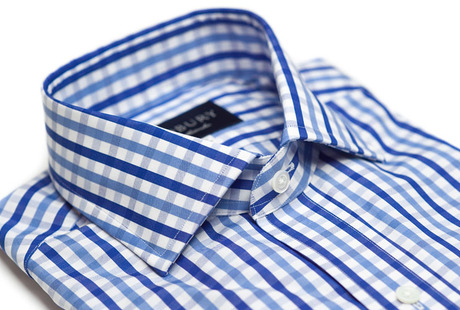 The Blue Starks Gingham Slim Fit collar