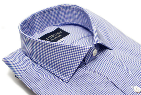 The Blue Cross Gingham Cutaway Slim Fit collar