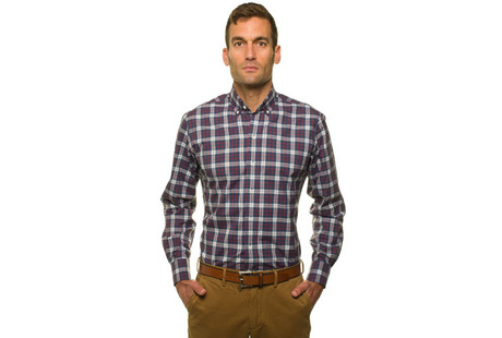 The Allen Plaid Slim Fit modelcrop