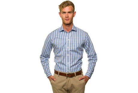 The Blue Starks Gingham modelcrop