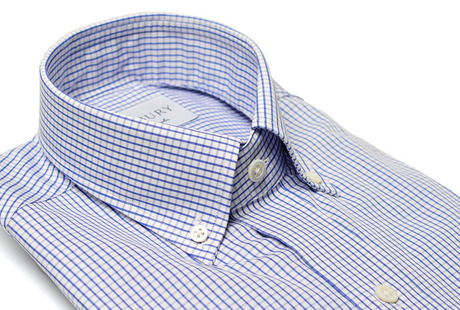 The Blue Box Check Button Down collar