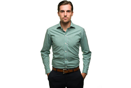The Blue and Green Thompson Tattersall modelcrop