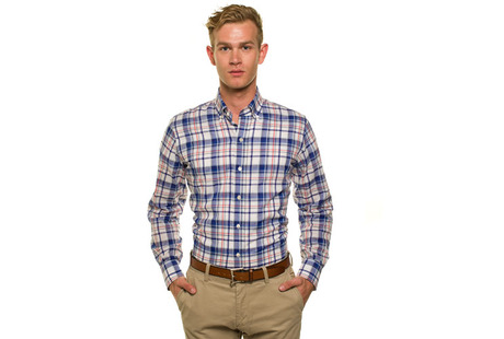 The Blue Crawford Plaid Slim modelcrop