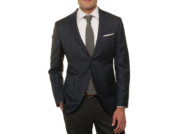 The Blue and Brown Hanover Check Sport Coat collar