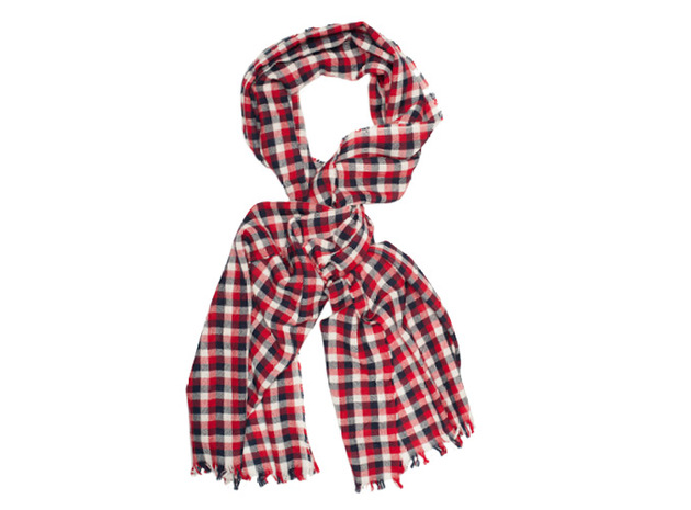 The Toran Gingham Cashmere Scarf collar