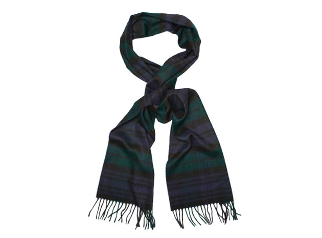 The Logan Blackwatch Cashmere Scarf collar