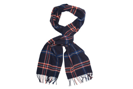 The Kinney Windowpane Lambswool Scarf collar
